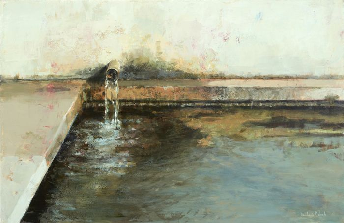 caño echando agua a estanque pared humedad pintura