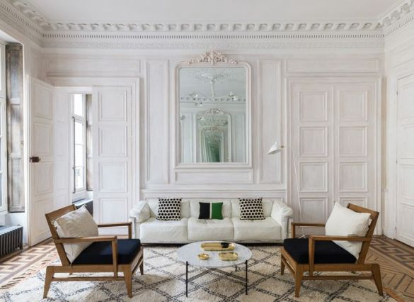saloón, Haussmann, espejo, sillones, molduras, techos altos