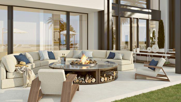 zona chimenea vivienda lujosa en Marbella