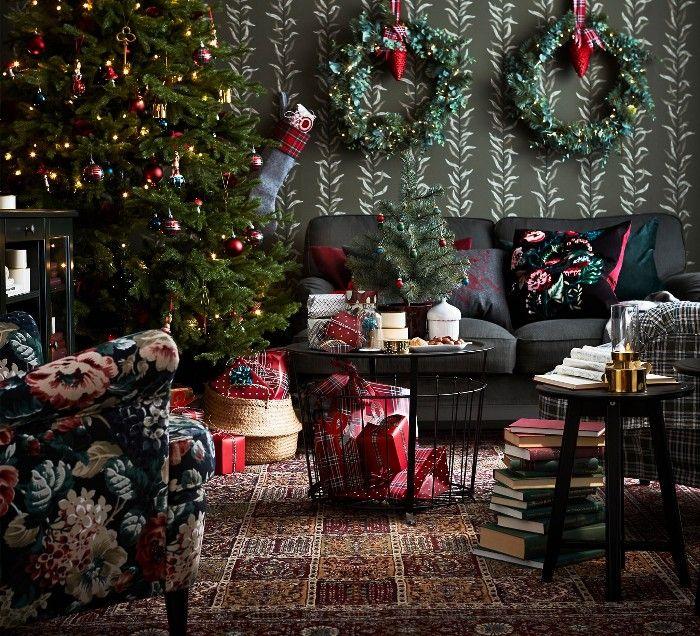 salon coronas y arbol navidad decoracion ikea