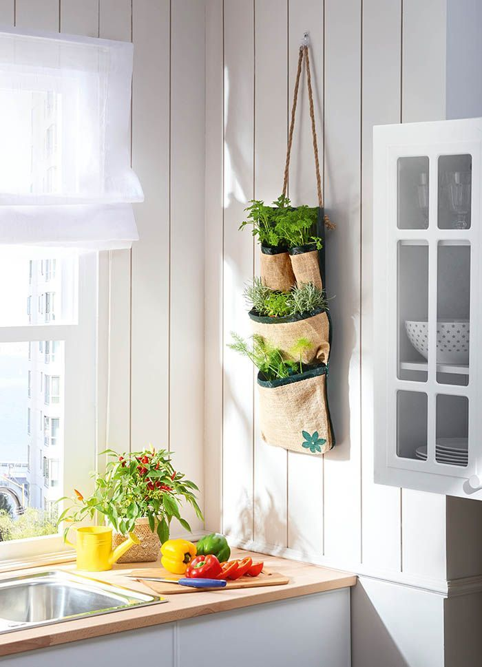 macetero fibra natural para hierbas aromaticas en cocina