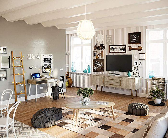 Salon moderno estilo nordico maximalista