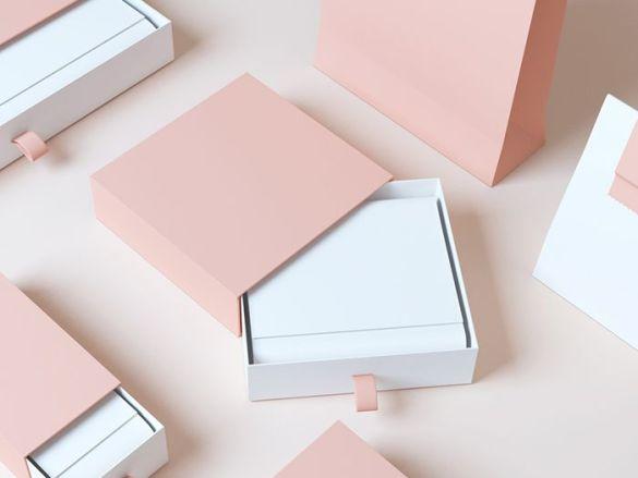 cajas elegantes minimal rosa y blanco