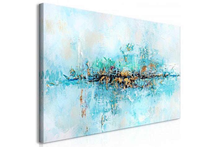 cuadro abstracto azules y dorados