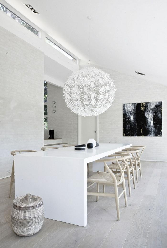 Decoracion salon y cocina color blanco