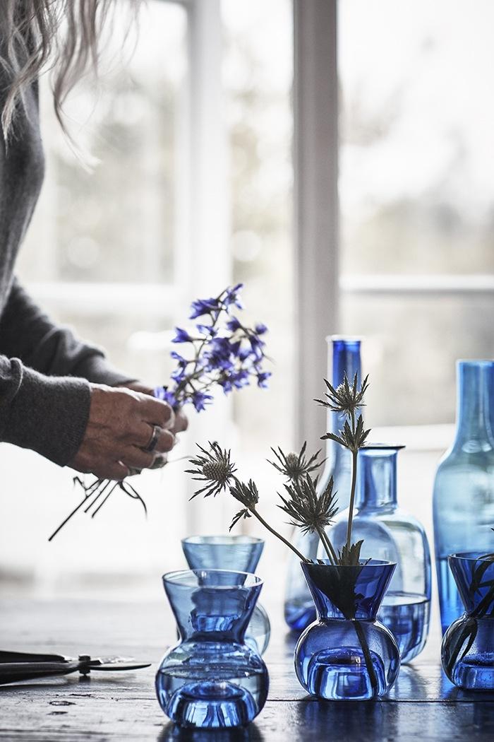 botellas decoracion cristales azules