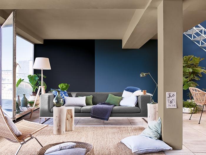 Salon con toques azules