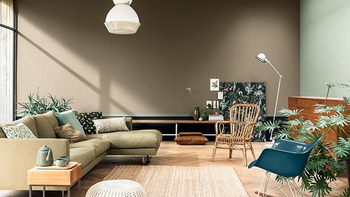 salon con toques verdes