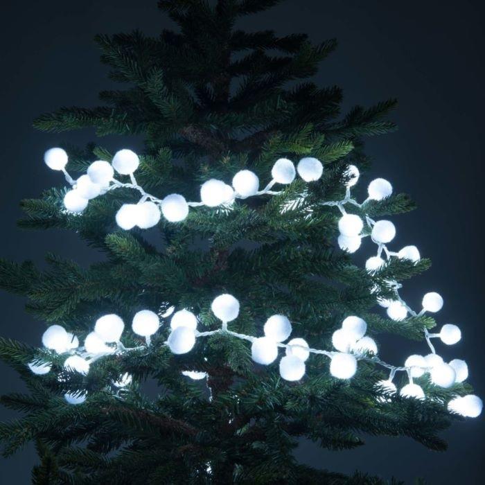 Guirnalda luminosa con bolas blancas para decorar tu árbol de Navidad