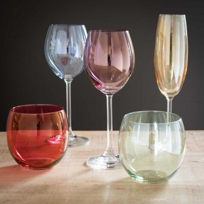 Regalo para amigo invisible de juego de 6 copas de vidrio multicolor de Maisons du Monde
