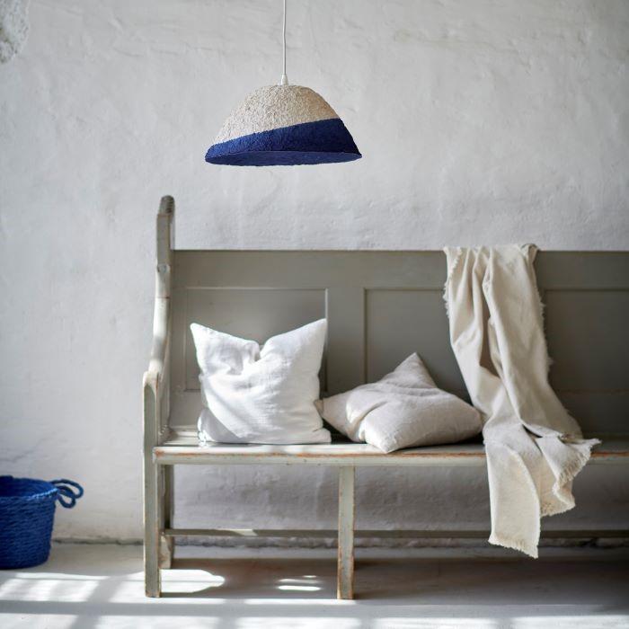 Pantalla para lámpara de IKEA blanca y azul