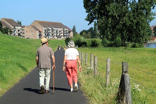 Dos personas mayores caminando en un ambiente rural