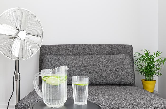 Sala de estar con un ventilador y una jarra de agua con un vaso