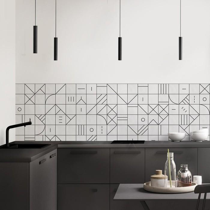 Vinilo motivos geométricos en la pared de una cocina