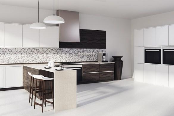 cocina blanca elegante con azulejos en una parte de la pared