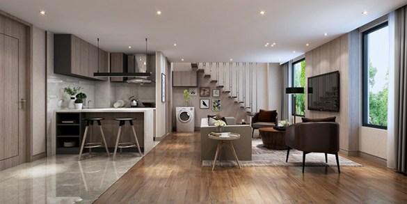 piso tipo loft con pequeño espacio para la cocina