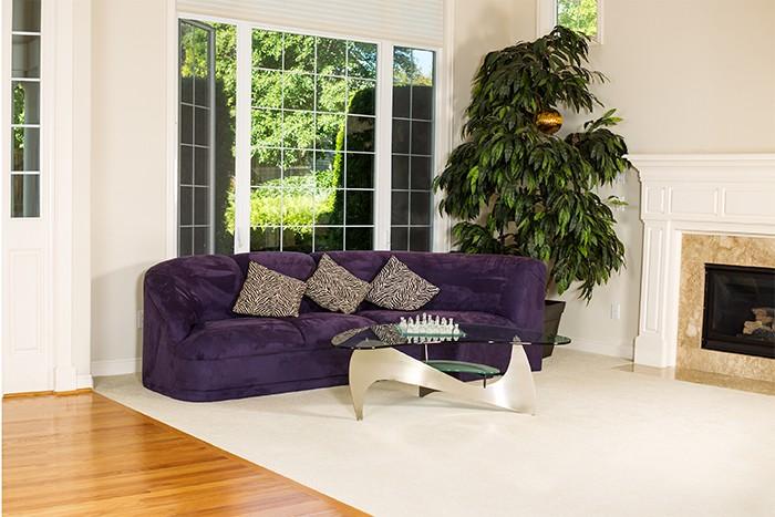 salón con alfombra clara grande
