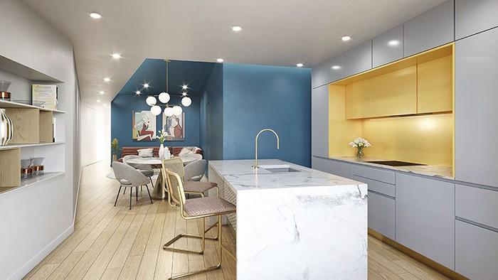 cocina isla colores azul amarillo
