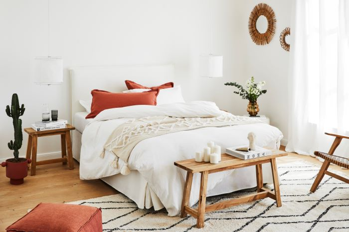 Dormitorio con decoración estilo rústico moderno
