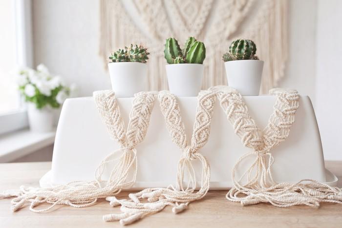 macramé personalizado hecho a mano para decoración cactus