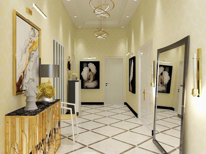 Estilo glam en un pasillo con muebles con espejos