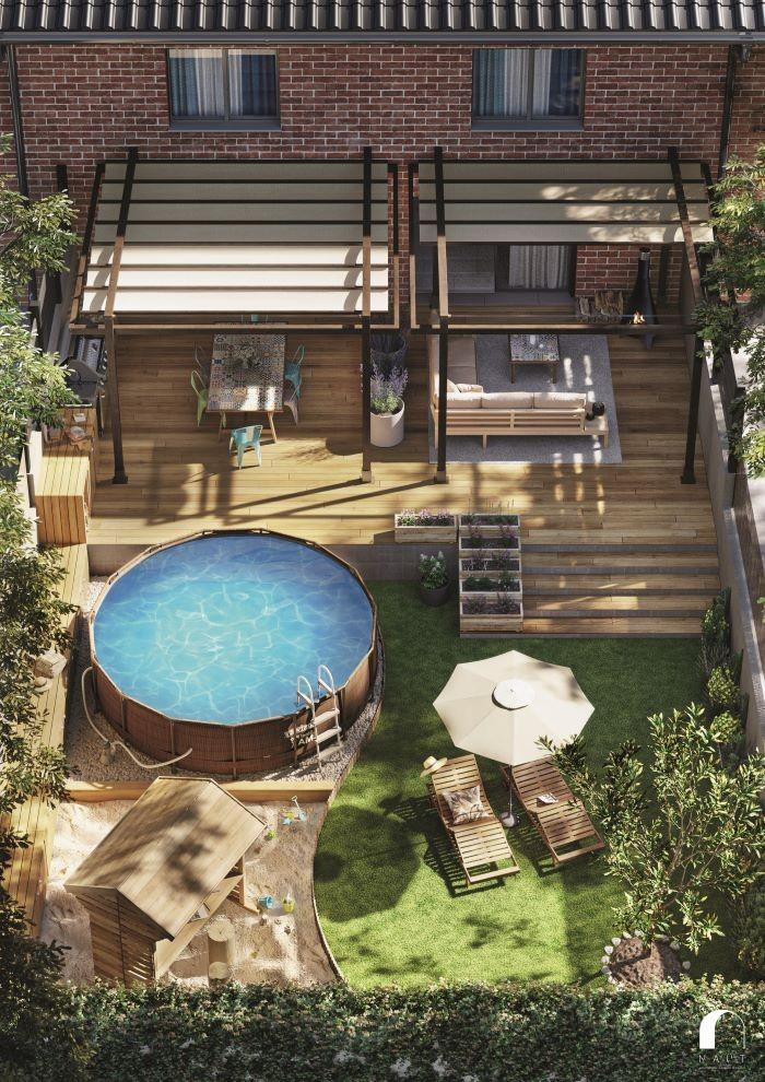 Panorámica de jardín con piscina de superficie