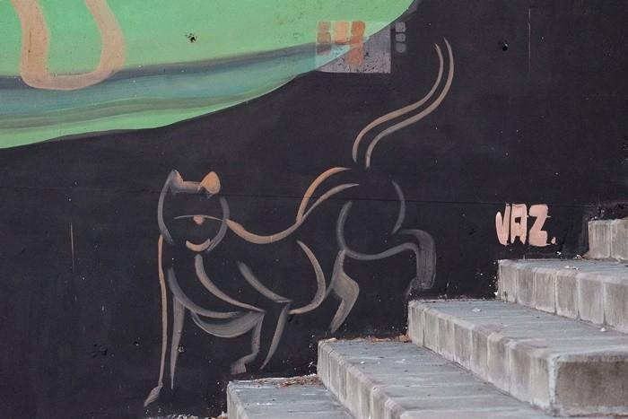 mural negro gato silueta