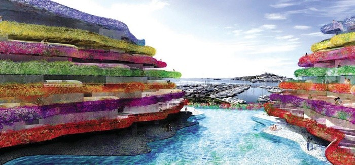 piscina muelle balcones colores
