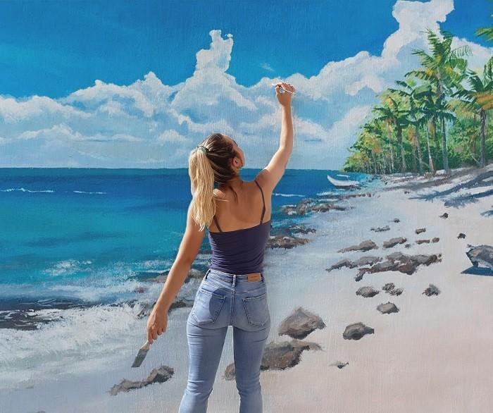 artista creando una pintura mural