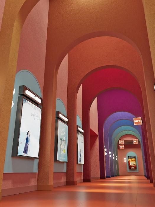 arcos colores pasillo