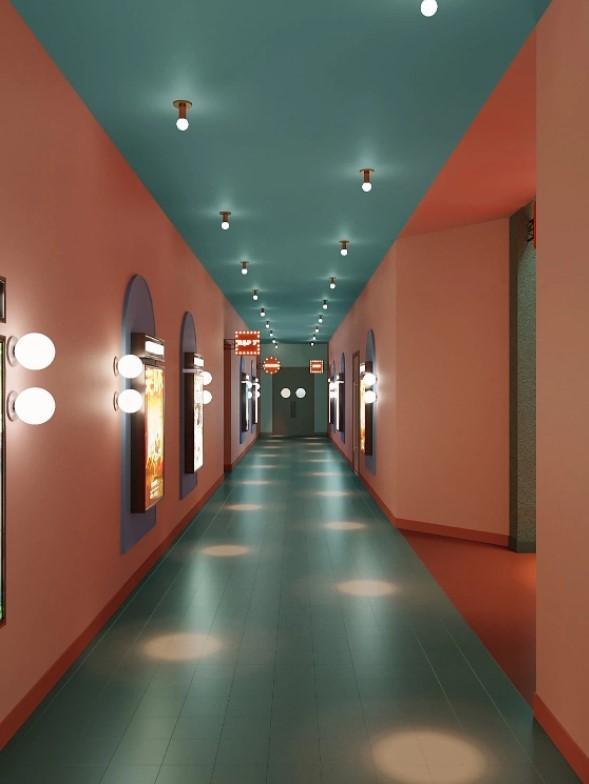 pasillo largo paredes carteles