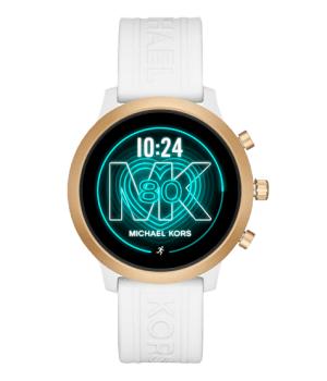 reloj smartwatch de Michael Kors con correa blanca y esfera dorada unisex