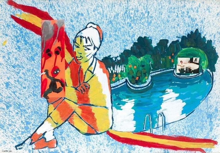 cuadro pintado de una mujer con bandera española