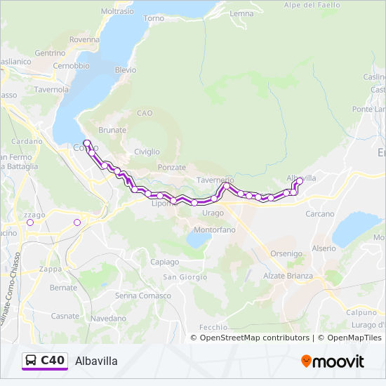 C40 Route Time Schedules Stops Maps Albavilla