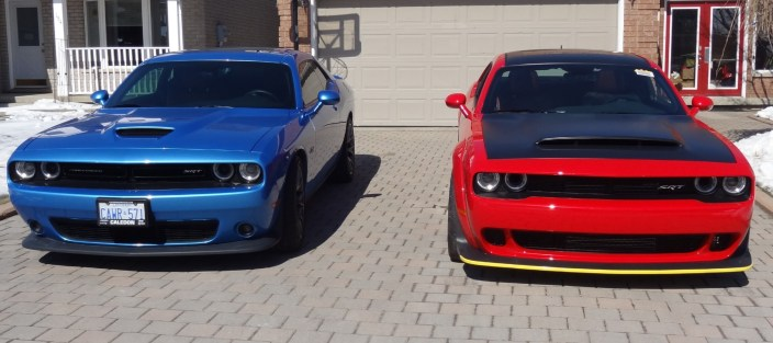 Dave Hayes' 2018 Dodge Challenger SRT Demon and Dodge Challenger SRT392. (Dave Hayes).