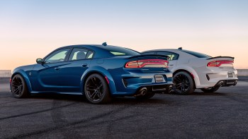 2020 Dodge Charger SRT HELLCAT Widebody (Front) and 2020 Dodge Charger R/T Scat Pack Widebody (Rear). (Dodge).