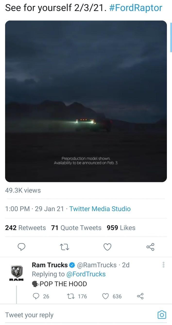 Ram Trucks comment to Ford Trucks on Twitter. (5thGenRams).