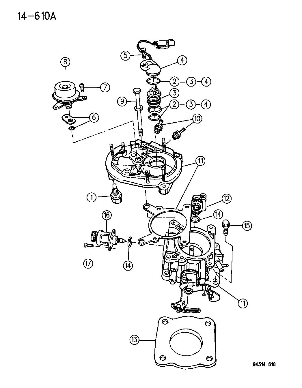 Dodge Dakota Throttle Body 2 5 Engine N Body