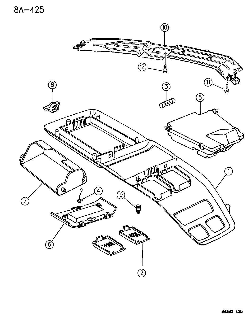 Dodge Dakota Overhead Console N Body