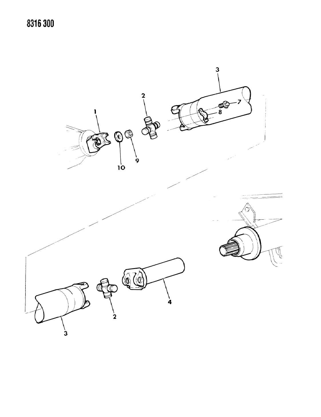 Dodge Ram Van Ram Wagon Shaft Propeller Single And Universal Joint B Body