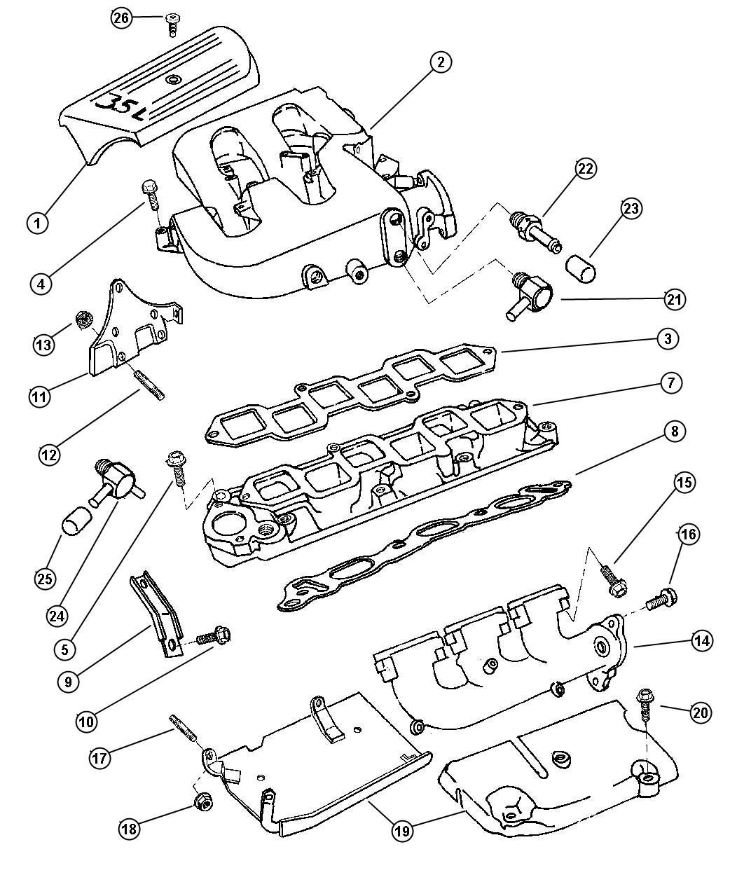Chrysler Lhs Manifold Intake And Exhaust 3 5l Engine
