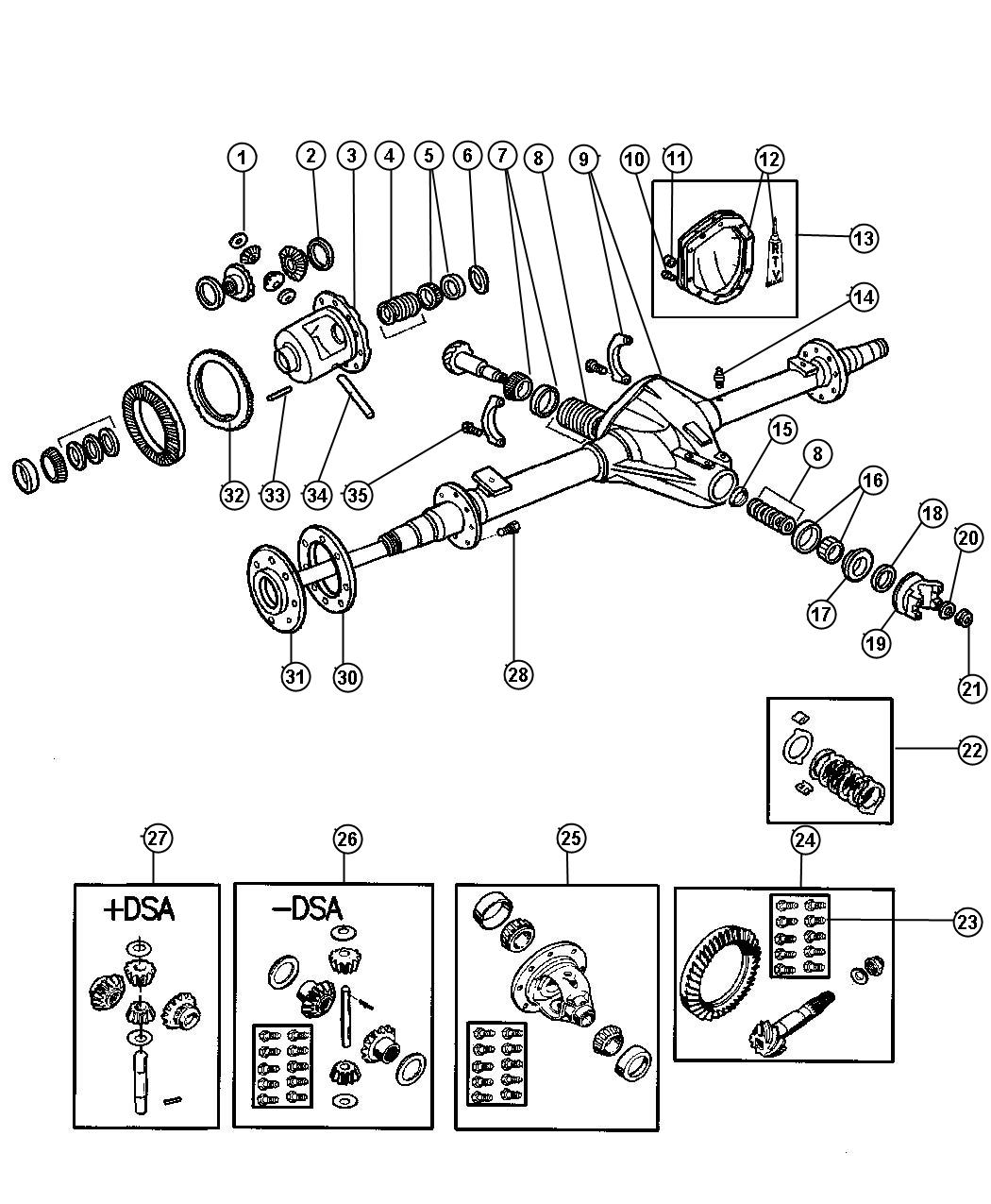 Axle Rear With Differential Parts Dana Model 80 Be 2 3 7 8