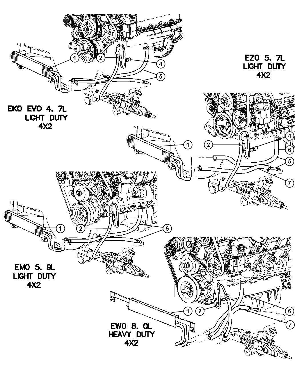 Dodge Ram Hoses Power Steering 2 Wheel Drive