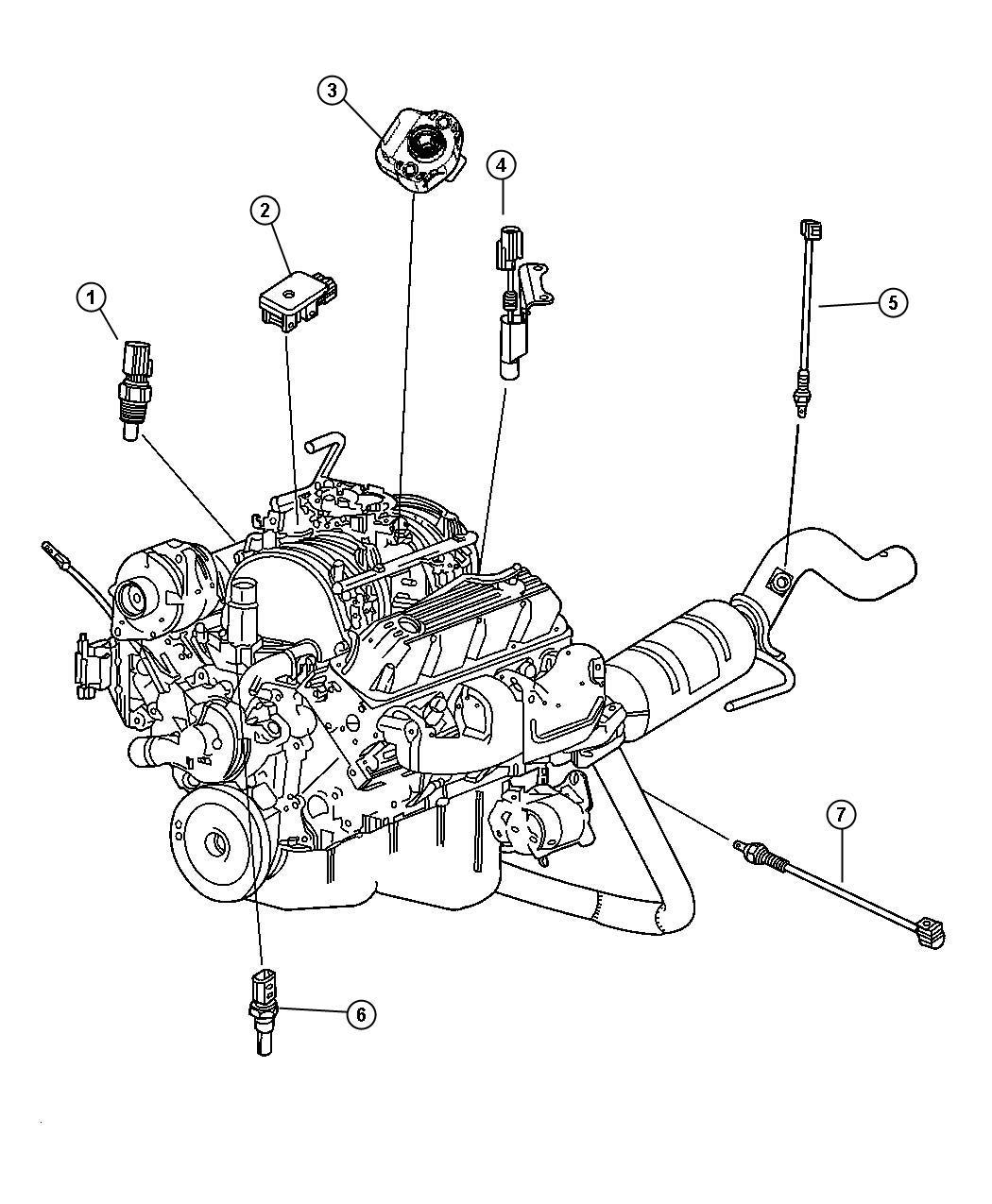 Dodge Ram Sensors Engine 5 2 El0 5 9l Em0 Gas Engine