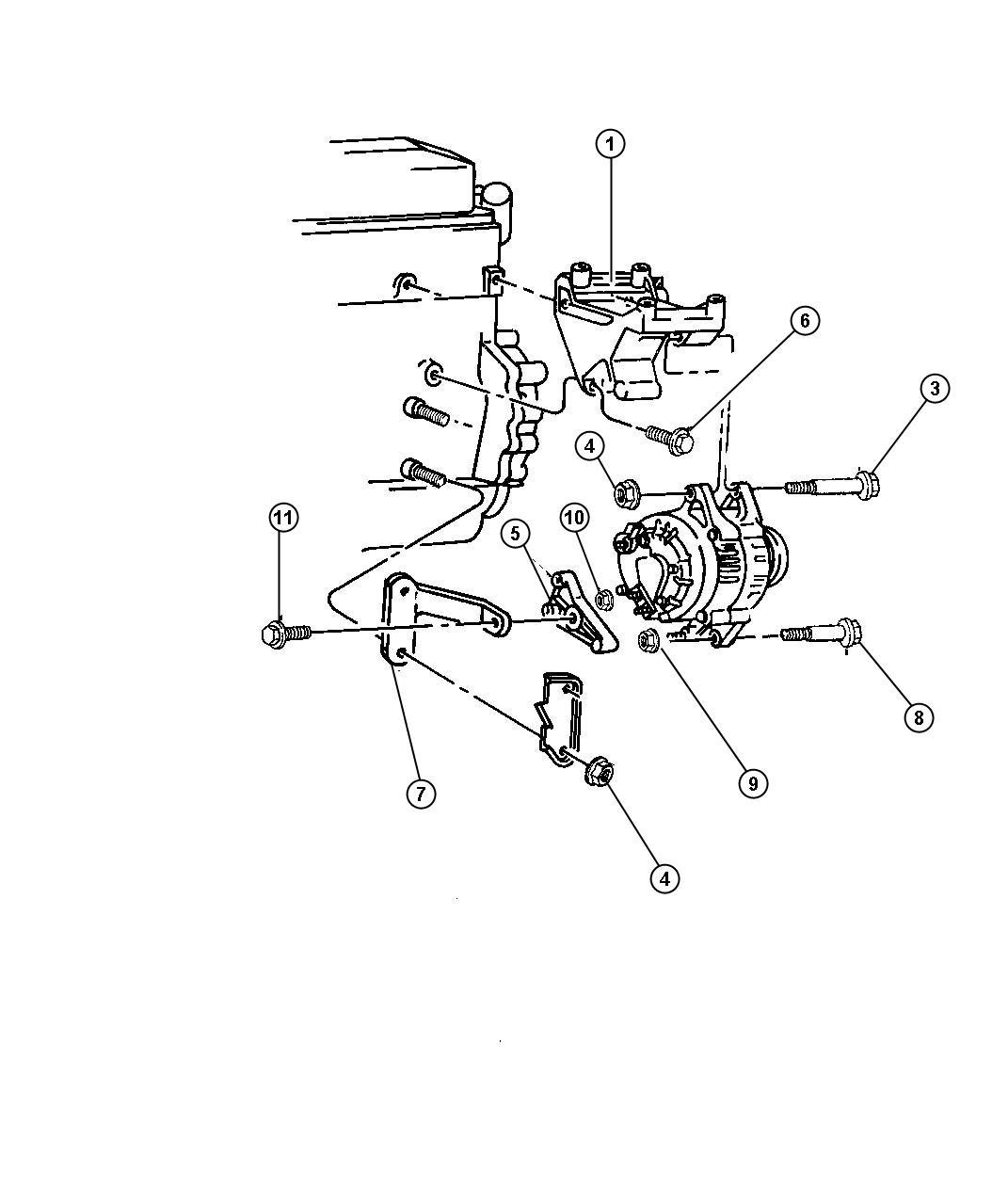 Dodge Dakota Alternator Mounting 4 Cylinder Engine