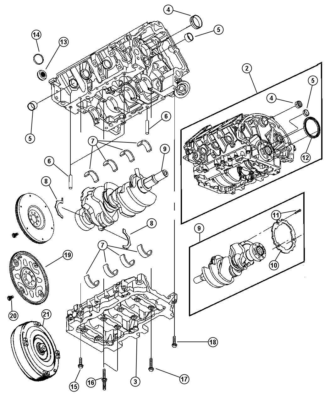 Crankshaft Bedplate And Torque Converter Ekg 3 7l
