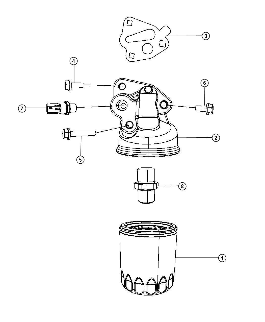 Chrysler Pacifica Engine Oil Filter Adapter And Splash Guard