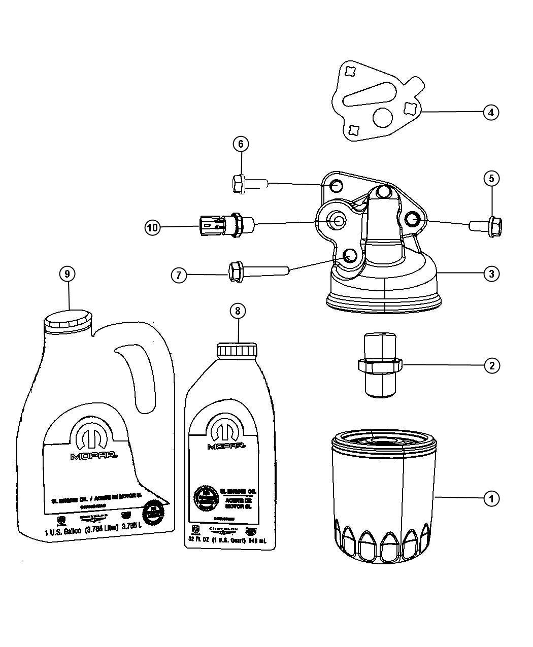 Dodge Grand Caravan Engine Oil Engine Oil Filter And Adapter 3 3l Egv