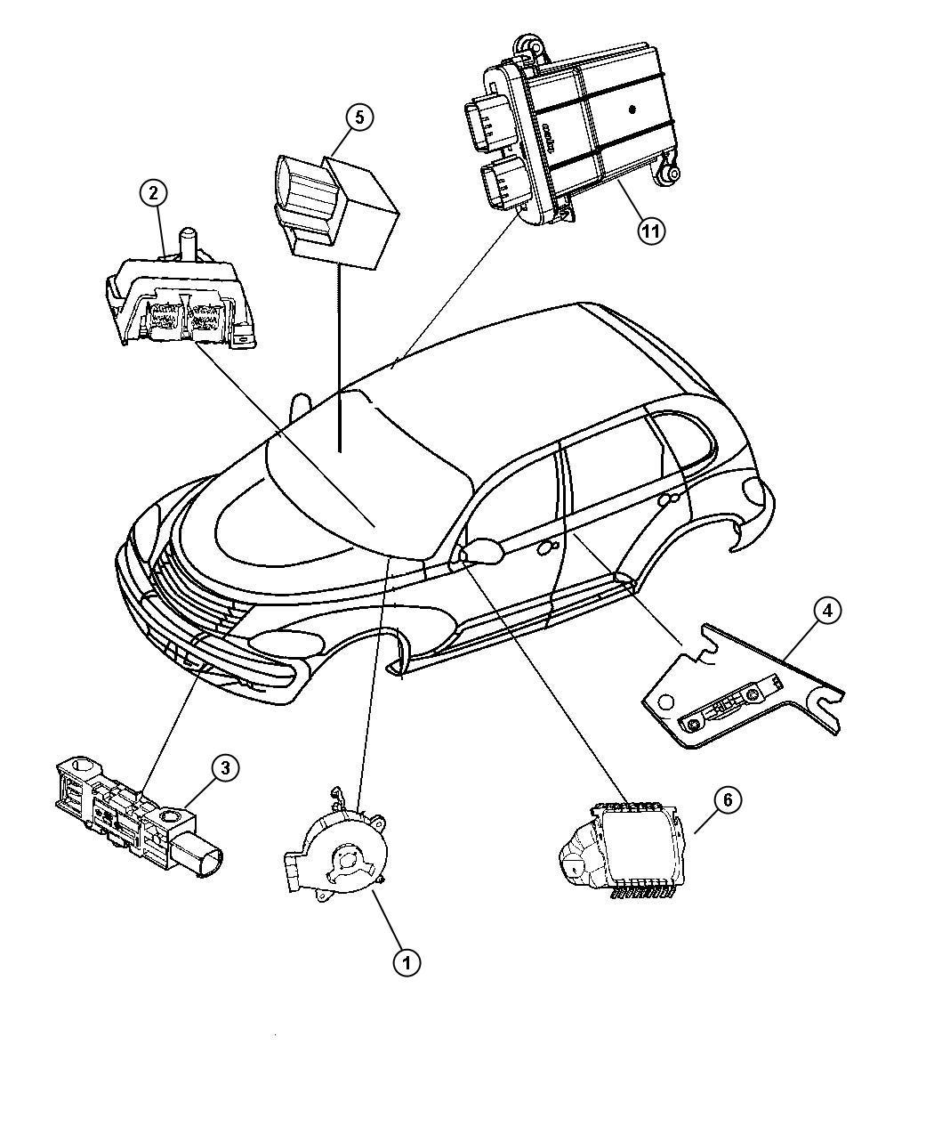 Chrysler Pt Cruiser Air Bag Modules Impact Sensors And