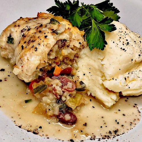 Riced Cauliflower Stuffed Chicken with Mashed Potatoes